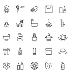 Beauty line icons on white background vector