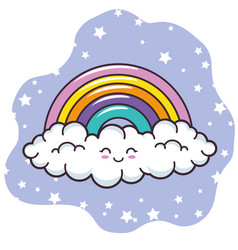 rainbow and cloud design vector image