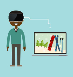 a virtual reality trip to the ski resort vector image