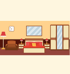Bedroom interior in warm colors with furniture vector