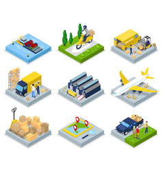 Isometric delivery concept worldwide shipping vector