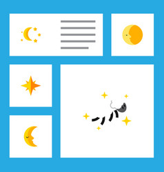 Flat icon night set of night bedtime lunar and vector