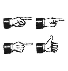 Pointing finger and thumbs up sign vector