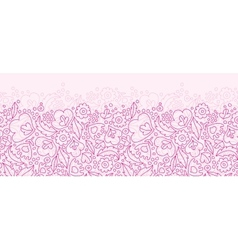 Pink flowers lineart horizontal seamless pattern vector
