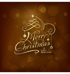 Golden merry christmas card vector