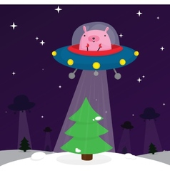 Ufo rabbit with christmas tree vector