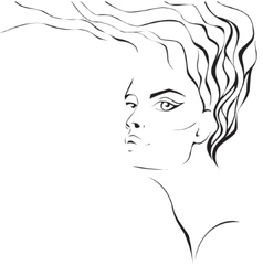 Woman face silhouette with wavy hair vector
