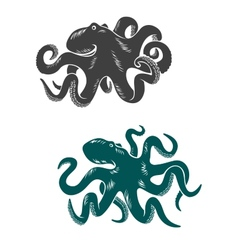 Octopus with waving tentacles vector