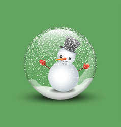 3d render of a snow globe with snowman in green vector