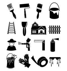 Paint worker icons set vector image