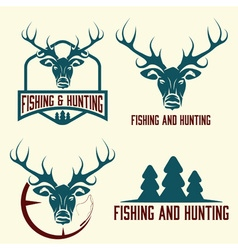 hunting and fishing vintage set vector image
