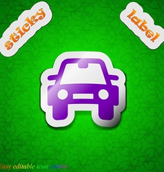 Auto icon sign symbol chic colored sticky label on vector