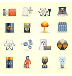 Nuclear energy icons yellow background vector