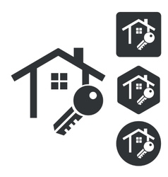 House key icon set monochrome vector