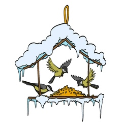 Birdfeeder in winter forest vector