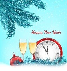 Happy new year background with traditional objects vector