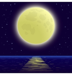 Moon over sea vector