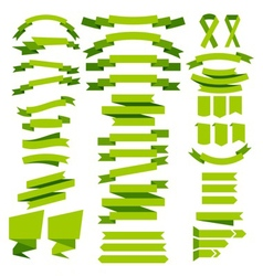Green ribbons vector