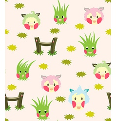 Lamb and grass story pattern vector