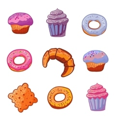 Set of baking products dessert icons flat style vector