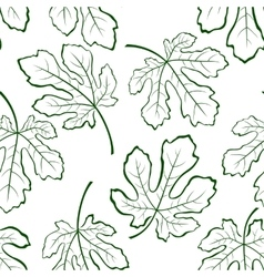 Seamless background fig leaves vector