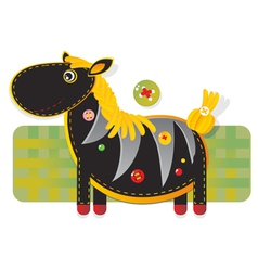 Cheerful fabric zebra vector