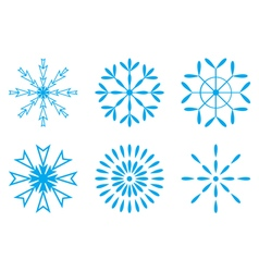 Christmas - set of blue snowflakes icon vector