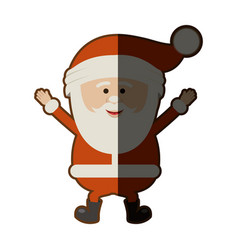 Colorful silhouette of santa claus happy and half vector