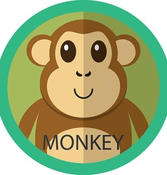 Cute brown monkey cartoon flat icon avatar round vector image vector image