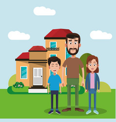 Father and brothers standing house vector
