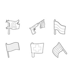 flag icon set outline style vector image
