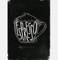 macciato cup chalk vector image vector image
