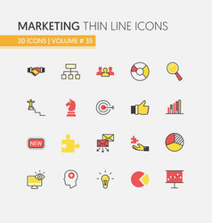 Marketing strategy linear thin line icons vector