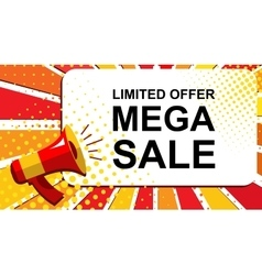 Megaphone with limited offer mega sale vector