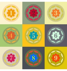 Numbers set Colorful Frames in Linear Style vector image vector image