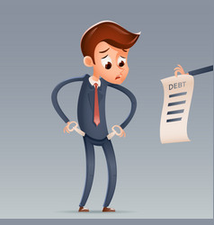 out of money debt sad businessman empty pockets vector image