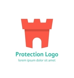 Protection branding with red fortress vector
