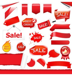 Red labels and ribbons set vector