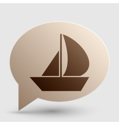 Sail boat sign brown gradient icon on bubble with vector
