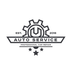 Service auto repair wrench logo sign flat vector