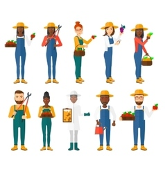 Set of agricultural with farmers vector