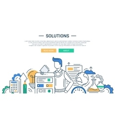 Solutions line flat design banner with male and vector image vector image