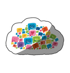 Sticker colorful pattern cloud shape formed by vector