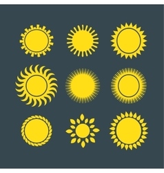Sun icons collection vector image