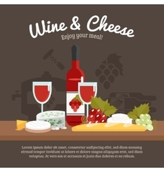 Wine and cheese life still vector
