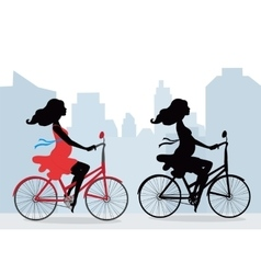 Silhouettes of pregnant women on the bike vector