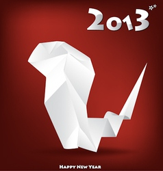 2013 New Year greeting card with origami snake vector image