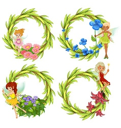 Template design wtih fairies and flowers vector