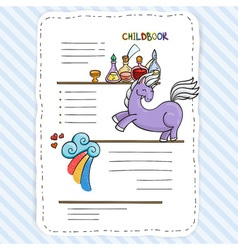Doodle page for kids and children pony and books vector