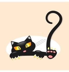 Cute little black kitty vector